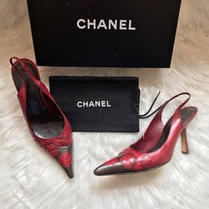 Authentic CHANEL logo Camellia Slingback Pumps